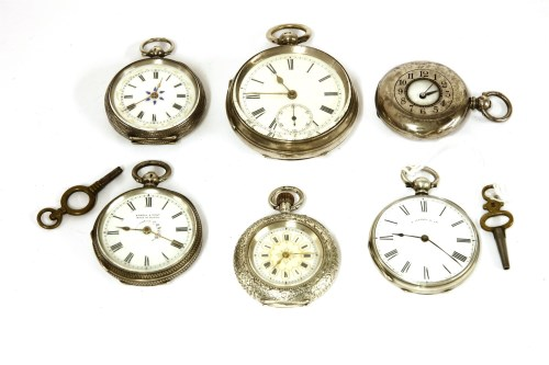Lot 52-A silver open faced pocket watch