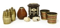 Lot 118 - A cylindrical ebony money box