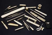 Lot 91-A collection of Victorian ivory and bone items