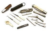 Lot 83 - A collection of various folding silver and mother of pearl fruit knives