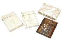 Lot 82 - A Pique work ivory card case decorated with a fountain