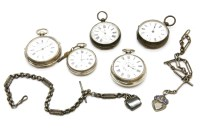Lot 92-Five silver cased pocket watches