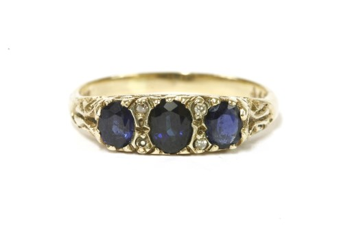 Lot 39 - A 9ct three stone graduated sapphire ring