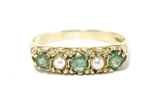 Lot 33-A 9ct gold five stone graduated emerald and cultured pearl ring