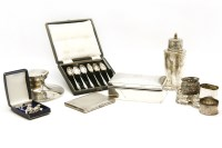 Lot 94 - Silver items: sugar shaker