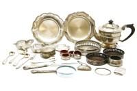 Lot 115 - Silver items: including tea pot
