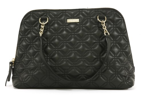 Lot 1020-A Kate Spade black leather quilted tote handbag