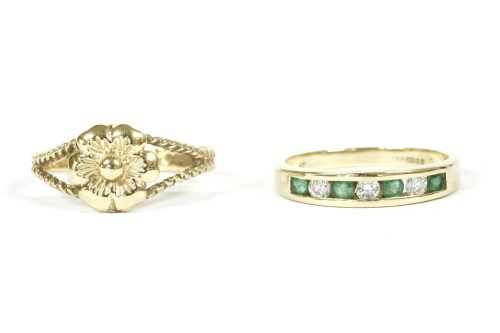 Lot 20-A 9ct gold diamond and emerald half eternity ring