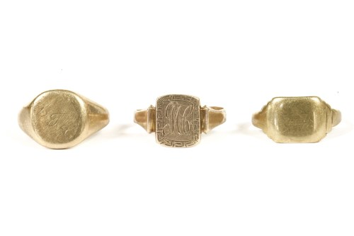 Lot 11-Three 9ct gold signet rings