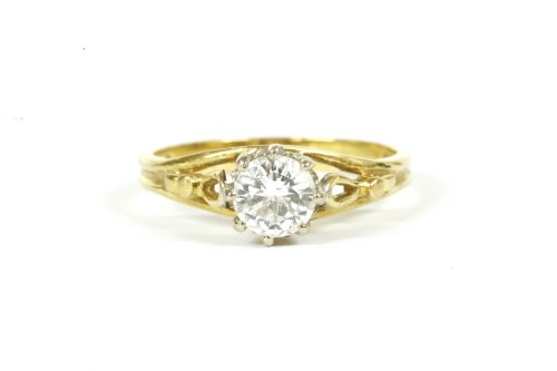 Lot 15-A gold single stone brilliant cut diamond ring