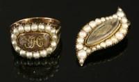Lot 3-A Georgian gold and split pearl memorial ring