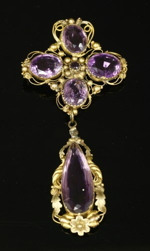 Lot 25-A Regency gold cannetille amethyst brooch with a pendant drop below