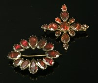 Lot 1-A Georgian gold flat cut garnet cruciform brooch/pendant