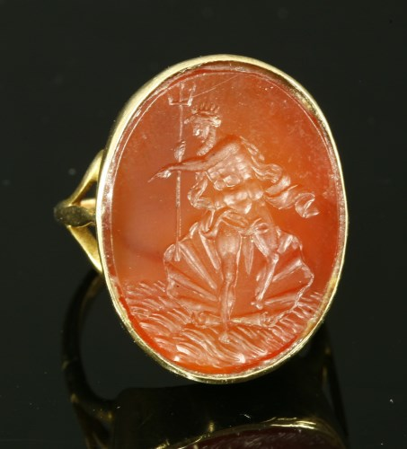 Lot 18-A gold intaglio engraved cornelian ring
