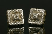 Lot 1-A pair of 9ct two-colour gold square two-tier diamond cluster earrings