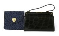 Lot 1031-A 1950s black alligator handbag