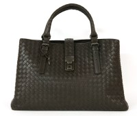 Lot 1035-A Bottega Veneta espresso intrecciato calf leather medium 'Roma' handbag
