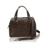 Lot 1042-A Gucci 'Double G' leather handbag this Soho handbag features a leather body