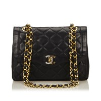 Lot 1049-A Chanel matelassé lambskin leather chain shoulder bag