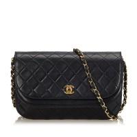 Lot 1051 - A Chanel matelassé half moon flap shoulder bag