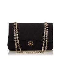 Lot 1054 - A Chanel classic medium cotton double flap shoulder bag