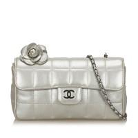 Lot 1098 - A Chanel 'Choco Bar Camellia' lambskin leather chain bag
