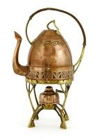 Lot 9 - A Carl Deffner copper and brass kettle on stand