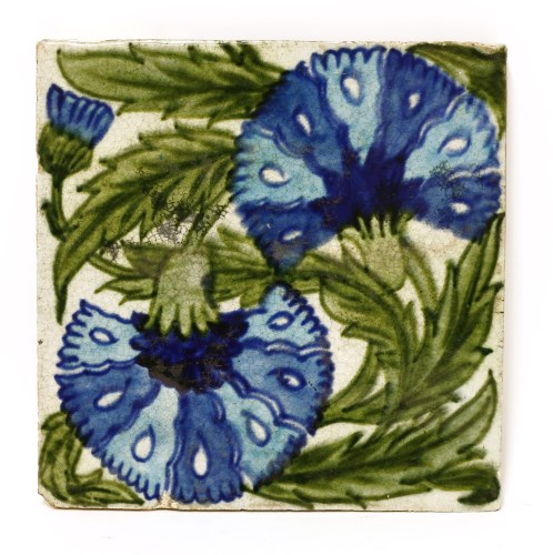 Lot 32-A William De Morgan pottery carnation tile
