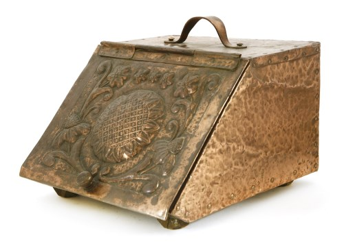 Lot 57-An Arts and Crafts copper-mounted coal scuttle