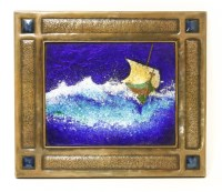 Lot 62 - An Arts and Crafts copper-mounted enamel plaque