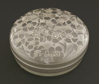 Lot 265-A Lalique moulded glass powder pot and cover