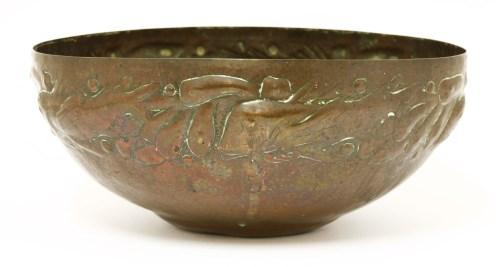 Lot 66-A Newlyn Arts and Crafts copper bowl