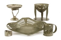 Lot 76-A Liberty Tudric pewter pierced bowl on stand