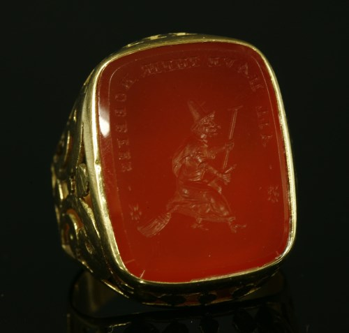 Lot 17-A gentlemen's intaglio engraved gold ring