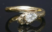 Lot 3-A diamond set gold snake or serpent ring