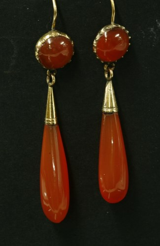 Lot 19-A pair of Victorian gold cornelian drop earrings