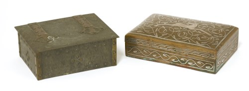 Lot 67-An Arts and Crafts copper and inlaid cigarette box
