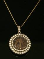 Lot 2-A Georgian split pearl circular glazed pendant