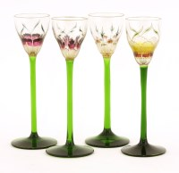 Lot 3-A set of four Art Nouveau liqueur glasses