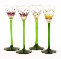 Lot 3 - A set of four Art Nouveau liqueur glasses