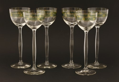 Lot 1-A set of six Secessionist-style wine glasses