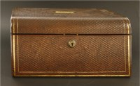 Lot 55-A Victorian brown leather jewellery box