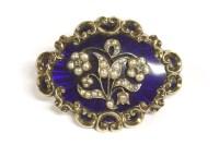 Lot 92 - A Victorian diamond split pearl and blue enamel