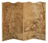 Lot 42 - A four-leaf Brussels tapestry screen