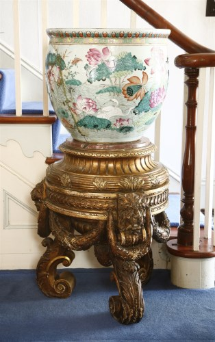 Lot 20-A large Chinese porcelain fish bowl