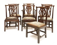 Lot 64 - A set of eight Chippendale-style mahogany dining chairs