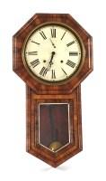 Lot 60 - A North European mahogany drop dial wall clock