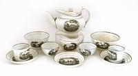 Lot 91 - A Staffordshire porcelain bat-printed and silver lustre part tea service