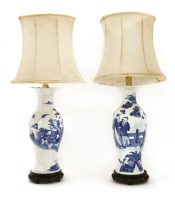 Lot 93 - Two Chinese blue and white baluster vases