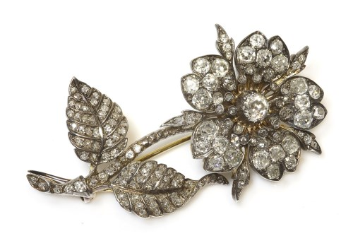Lot 285-A Victorian diamond set floral en tremblant spray brooch